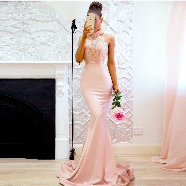 Pretty Pearl Pink Lace Mermaid Honor Of Maid Dress Appliques Halter Off Shoulder Sexy Long Bridesmaid Dress Formal Party