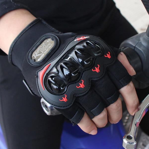 Новые Половина Finger Мотоциклетные Перчатки Мотокросс Гонки Защитные Летние Дышащие Езда Guantes Motocicleta Moto Glove Зеленый Красный