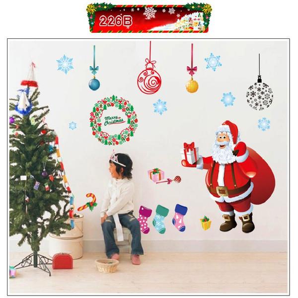 Etiquetas engomadas de la pared del árbol de navidad feliz de Papá Noel de la ventana de Navidad