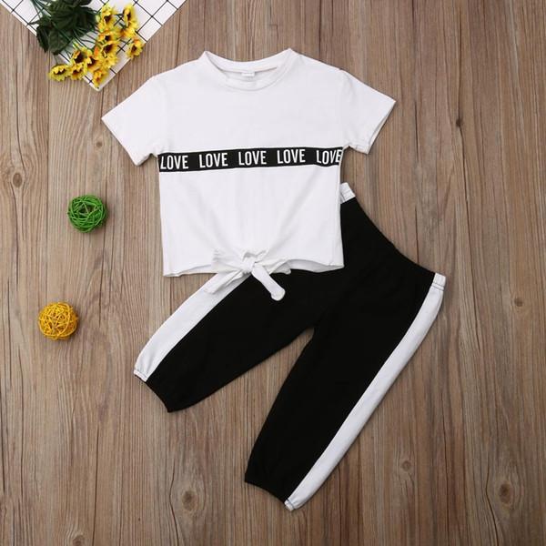 Pudcoco лето малыш девочка одежда хлопок футболки топы длинные брюки 2 шт. наряды повседневная спортивный костюм набор