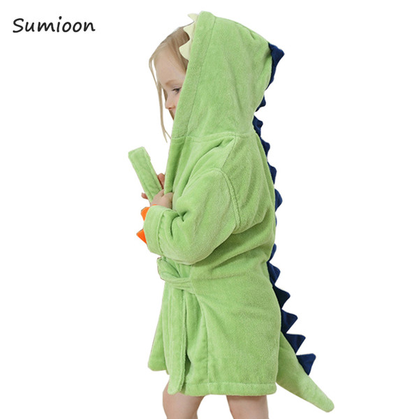 Cute Baby Bathrobes For Girls Pajamas Kids Dinosaur Hooded Beach Towel Boys Bath Robe Pajamas Baby Sleepwear Children Clothing J190520