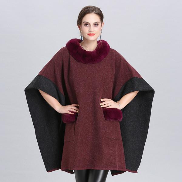 New Autumn Winter Women's Outwear Overcoat Shawl Ponchos Faux Fox Fur Collar Pullovers Cape Poncho C4933