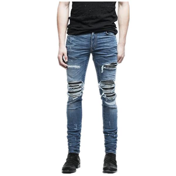 Мужчины модный бренд дизайнер разорвал байкер джинсы проблемных Мото джинсовые бегунов уничтожены колено черный кожаный плиссированные патч джинсы