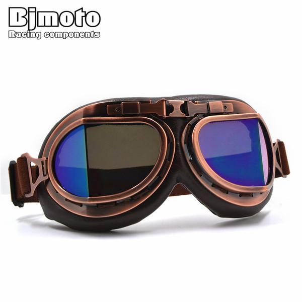 BJMOTO Adulte Casque Moto Lunettes Lunettes Vintage Lunettes Rétro Pilote Lunettes lunettes VTT Lunettes ATV Lunettes Protecteur