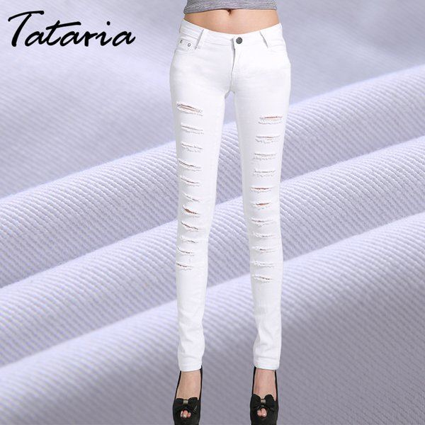Tataria Ripped Hole Jeans Women Skinny Pencil Pants Women Individual Slim Elastic Jeans 2019 Spring Summer Women's Trousers