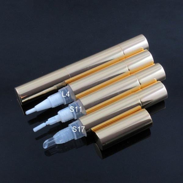 5ml gold lip gloss pen Cosmetic Aluminium pen, twist pen dispenser with leak resistant applicators for gel and cream F1848