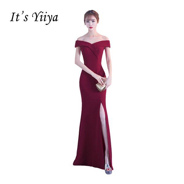 Это YiiYa Новое Открытое Плечо Атласное Русалка Сплит Пром Платье Простое Труба Длина Пола Ruched Секс Роскошное Вечернее Платье X134