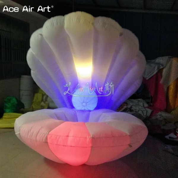 Diamètre de 2m accepter la coquille gonflable gonflable géante de décoration de mariage adaptée aux besoins du client, coquillage à vendre