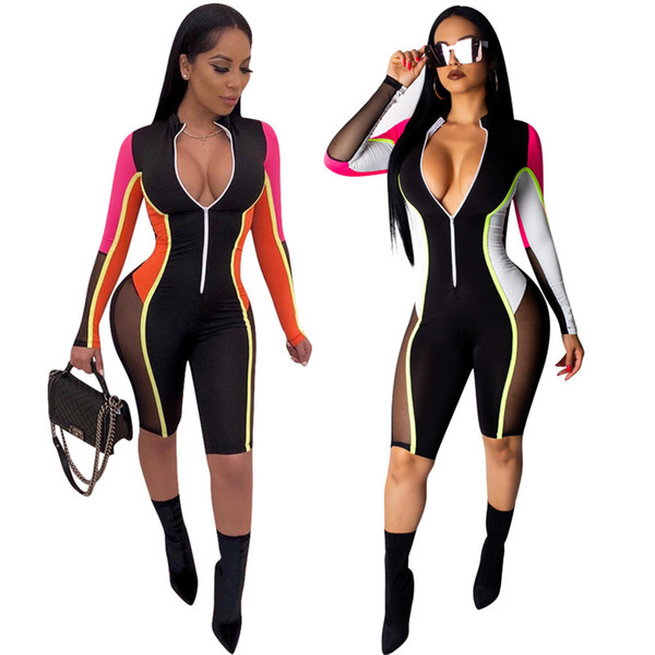 Summer Rompers Women Clothes One-piece Jumpsuit Long Sleeve Patchwork Zipper Leggings Trousers Sports Tracksuit Skinny Clubwear S-2XL A413