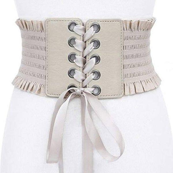 Womens vintage Wide Elastic Lace-up Waist Belt Cinch Tie Adjustable Leather Cinch Corset Waistband cummerbund Black
