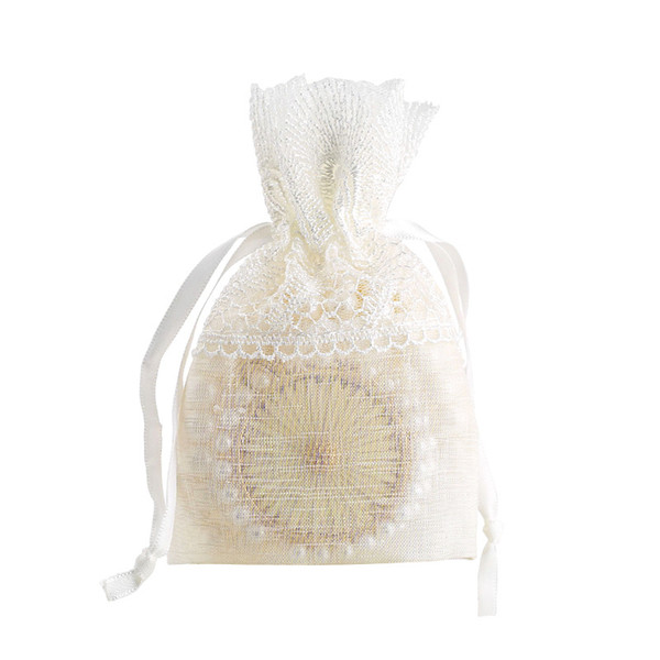 10x14cm Slub Yarn Polyester Lace Drawstring Gifts Bags Wedding Christmas Party Favors Packing Pouches Jewelry Pouch Bag