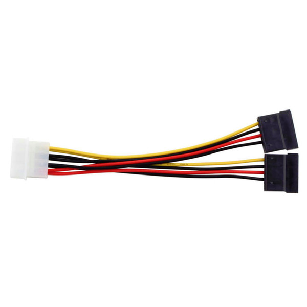 1pcs Serial ATA SATA 4 Pin IDE Molex to 2 of 15 Pin HDD Power Adapter Cable Hot Worldwide