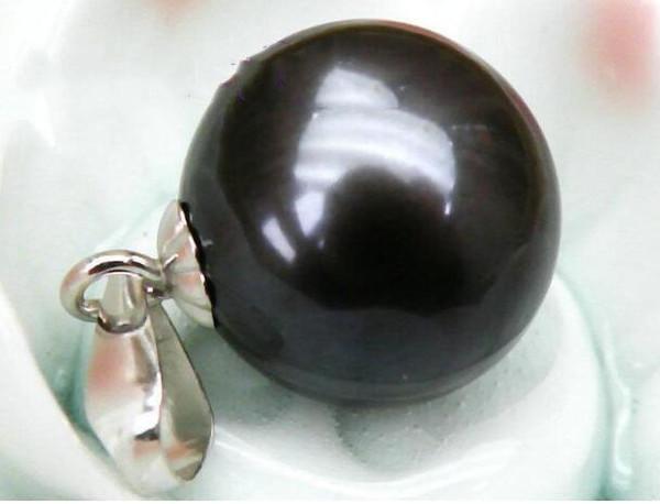 Pendente in perle Jewelryr 9mm perfetto rotondo nero verde perla pendente del mare del sud Spedizione gratuita