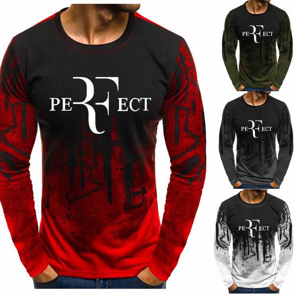 Для РЧ Федерер Градиент O шеи пуловеры Мужчины хлопка способа теннис фуфайки вскользь Hip Hop Харадзюку пуловер Свитера с капюшоном мужчин