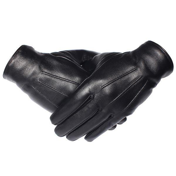 Gours Guantes de invierno de los hombres guantes de cuero genuino PANTALLA TÁCTIL real piel de cordero negro guantes de conducir caliente mitones nueva llegada Gsm050 T190618