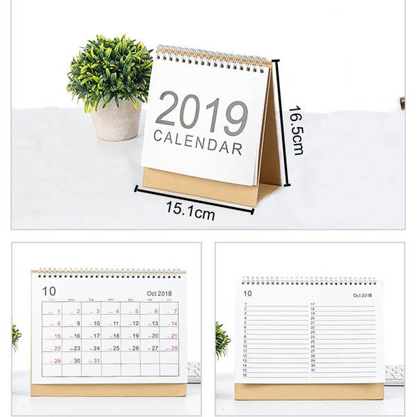 top popular 2019 Desktop Creative Office White Stand Simple 16.5*15.1cm Calendar Writable Weekly Planner Monthly List Plan Daily Calendar DH0645 T03 2020