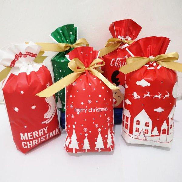 10PCS 15 * 23CM حلوى عيد الميلاد الكوكيز أكياس التعبئة حقيبة هدية السنة الجديدة حقيبة عيد الميلاد سانتا كلوز هدية البسكويت من البلاستيك لحزب ديكور