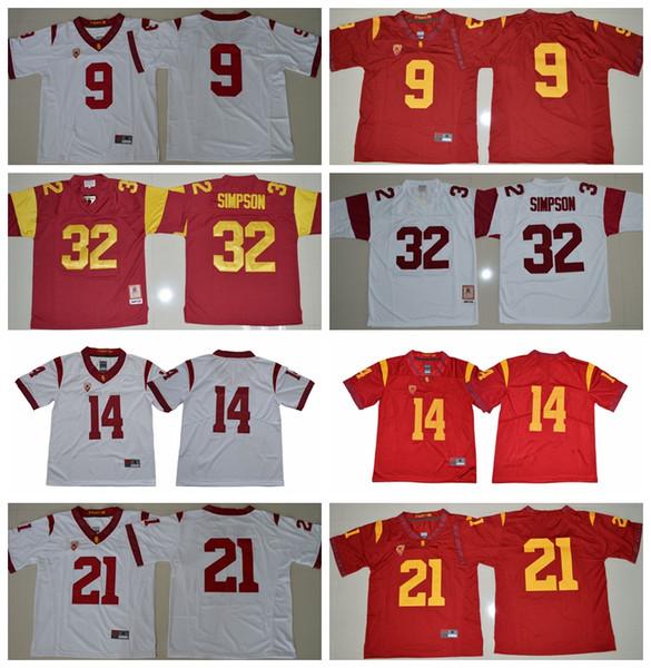 NCAA Mens Forması USC Truva atları 9 JuJu Smith-Schuster 14 Sam Darnold 21 Adoree 'Jackson 32 O.J Simpson Forması Erkek Üniversite Futbol Forması