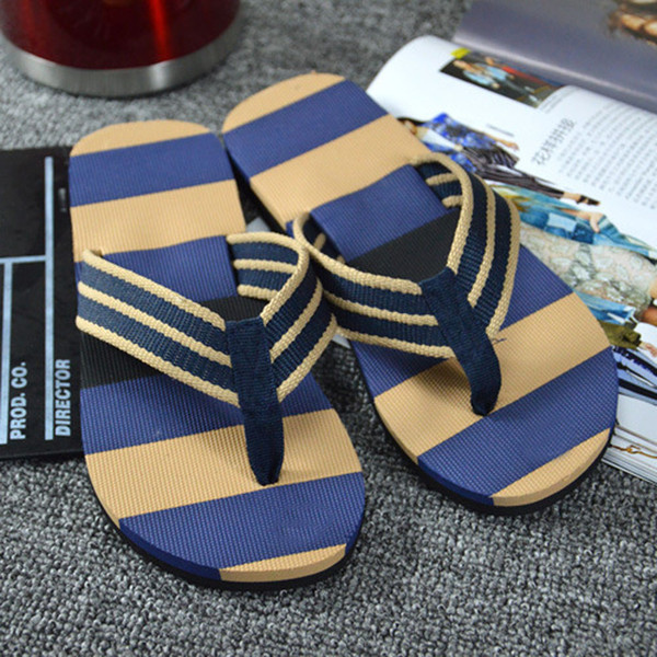 New Fashion Men Shoes Summer Slippers Stripe Flip Flops Shoes Sandals Male Slipper Flip-flops Casual Beach Out-door Zapatillas