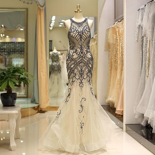 Venda quente Vestidos De Gala Largos Sem Mangas de Baile Vestidos de Noite Delicado Frisado Longo Vestidos de Festa Elegante Sereia Vestidos Formais À Noite