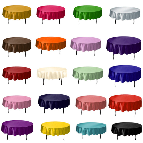 145cmx145cm Hotel Tablecloth Solid Round Satin Table Cloth For Christmas Wedding Party Hotel Restaurant Banquet Decor