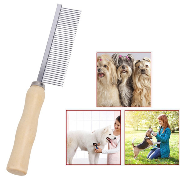 Pet Rake Steel Pins Comb Wooden Handle Pet Dog Cat Hair Grooming Trimmer Rake Comb Pets Steel Pins Grooming Cleaning Brush