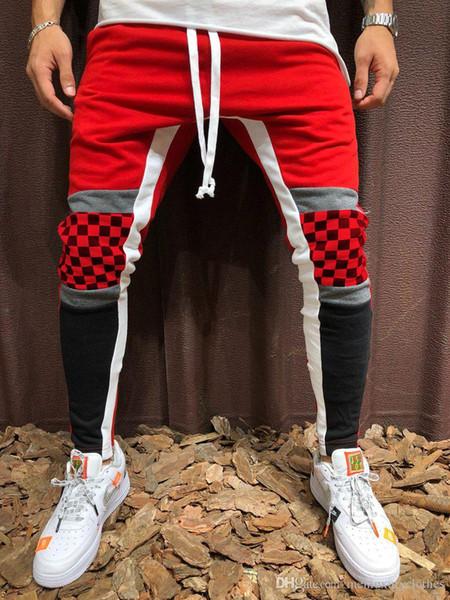 Moda-Mens KANYE Calças Esportivas Casuais Aptidão HIPHOP Calças Lápis Xadrez Cores Designer Basculador Pantalones