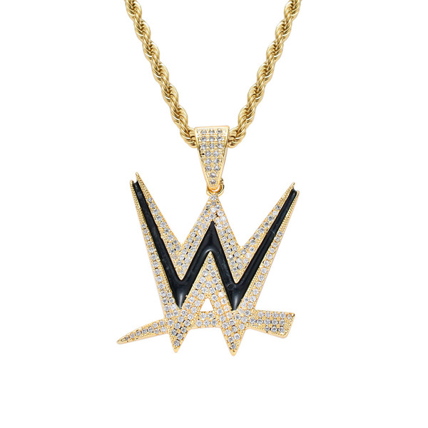 Personalized Men Gold Silver Color Letter W Pendant Stainless Steel Rope Chain Necklace CZ Stone Charm Hiphop Jewelry