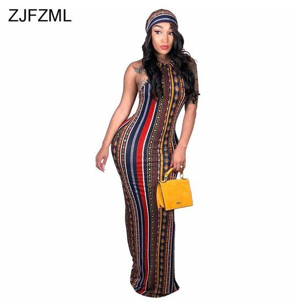 ZJFZML Striped Printed Vintage Bohemian Dress Women O Neck Sleeveless Plus  Size Dress Casual Vocation Maxi Dress With Head Scarf Cute White Dresses ...