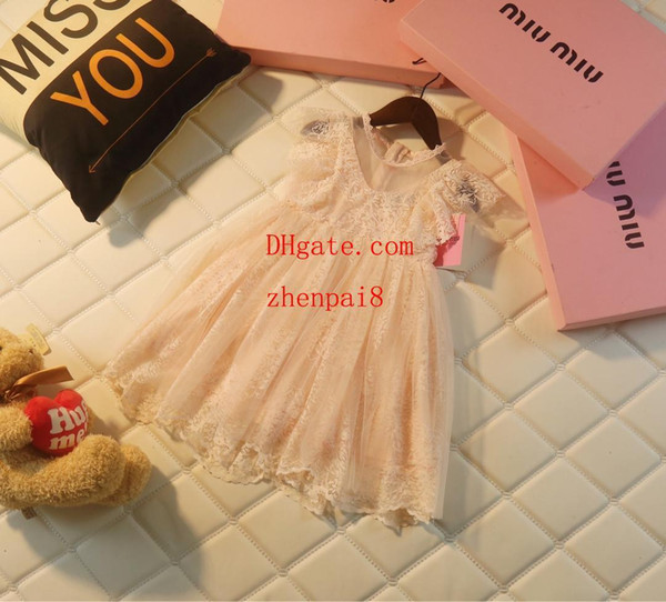 2019 New Beach Flower girl dresses Lace embroidery Mesh stitching Dress For Little Girl Kids Wedding Dress