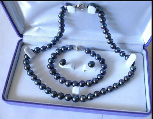 jewelry 8-9mm Natural Black Akoya Cultured Pearl Bracelet Necklace Earrings Set