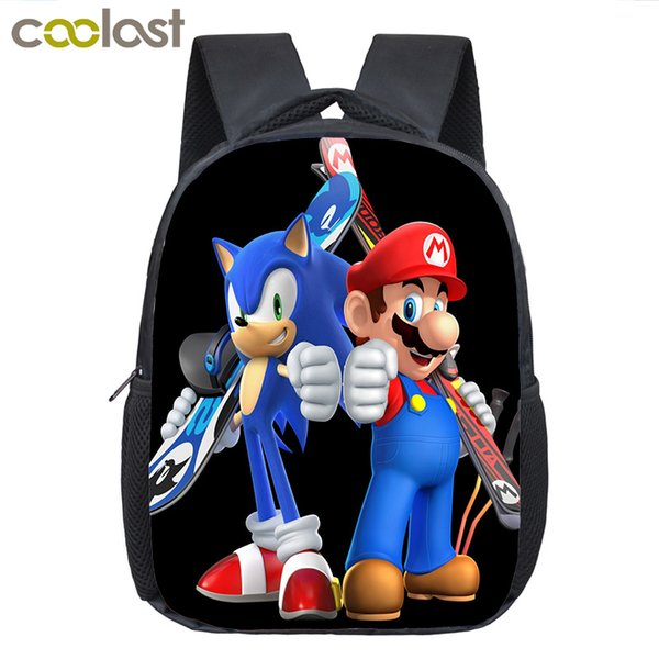 Cartoon Super Mario Bros Backpack School Bags for Boys Girls Sonic Kindergarten Bag Children Bookbag Toddler Backpack Kids Gift