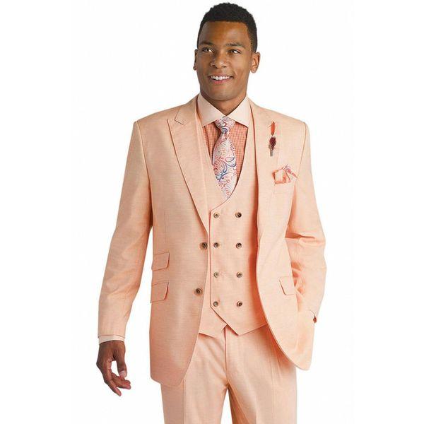 Excellent Coral Groom Tuxedos Notch Lapel Two Button Groomsmen Mens Wedding Dress Man Jacket Blazer Business Suit(Jacket+Pants+Vest)