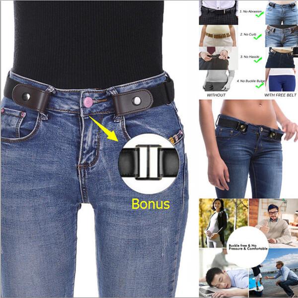 Schnallenfreier Rindsledergürtel aus echtem Leder Keine Schnalle Stretch Unsichtbarer elastischer Gürtel für Frauen / Männer für Jeans Hosen Kleider