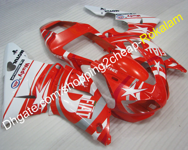 YZFR1 98 99 YZF 1000 Injection Fairings For Yamaha YZF R1 1998 1999 YZF1000 FIAT ABS Fairing White Red Moto Part (Injection molding)
