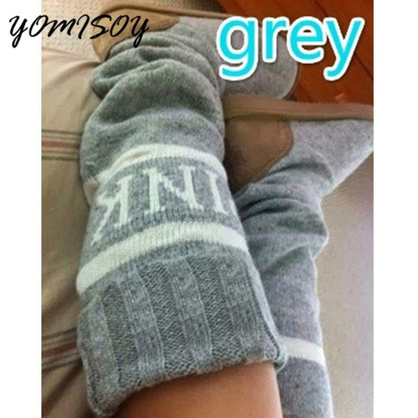 Bottes pour femmes Automne Hiver Bottes chaudes tricotées à la mode Chaussures à tricoter mi-mollet