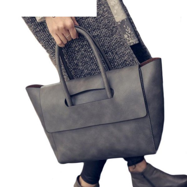 good quality New Women Tote Bag High Capacity Female Casual Fashion Ol Business Pu Leather Handbags Black Brown Gray