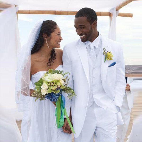 Novos Homens Brancos Ternos de Casamento Da Praia Do Noivo Smoking 3 Peças (Jacket + Pants + Vest) Noivo Padrinho de Casamento Ternos de Desgaste do Desgaste Blazer 322