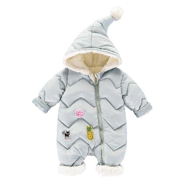 2018 Inverno Algodão Romper Do Bebê Do Bebê Da Menina Do Menino Snowsuit Para Baixo Macacão Macacão de Algodão de Lã Manga Longa Roupas coverall