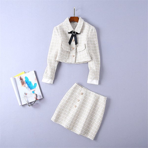Spring Auturn 2019 Women Clothes Sweater 2 Piece Sets Skirt Suits Slim Striped Butterfly Bow Clothing Set Female Tracksuit Szie S-XL