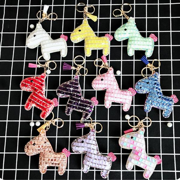 Cute Inlay Crystal Rhinestone Horse Key Chains HandBag Purse For Women Charm Pendant Keychains Car Key Rings Holder Gift