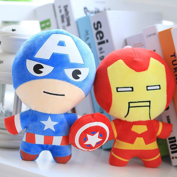 Kawaii 20cm Plush Toys Hulk Thor Captain America Iron Man Spiderman Stuffed Animal Toys Soft Plush Dolls Great Boys Gift