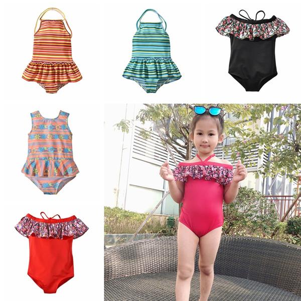 Enfants rayé imprimé floral Maillots de bain été bébé Plage Ruffle Off épaule maillot de bain Bikini enfants Une pièce Maillot de bain TA-TA693