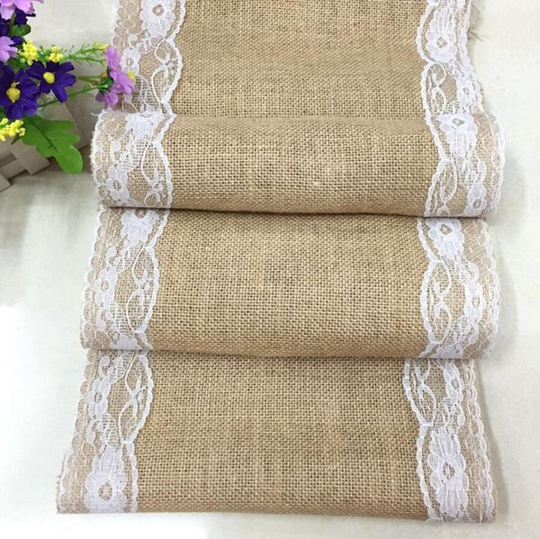 30*180cm Lace Burlap Table Runner Wedding Party Table Cloth Tablecloth Table Cover Home Linen Tables Decoration LJJA3719-2