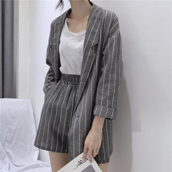 Costumes d'été rayé courtes pour femmes Printemps manches longues Blazer Shorts Veste Casual 2 jeux Piece Feminino coton lin Costumes LY191123
