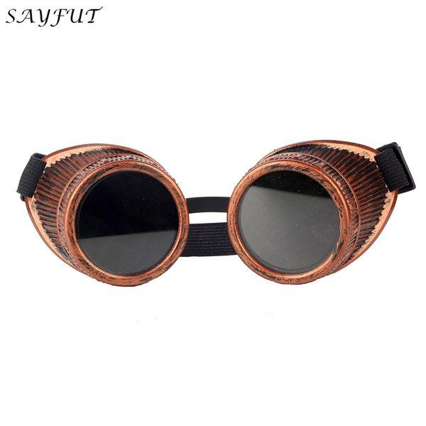 SAYFUT Steampunk Goggle Glasses Red Frame Retro Vintage Welding Punk Gothic Cosplay Eyewear 2019 Fashion Retro Goggles Glasses
