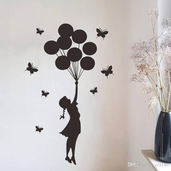 Black Butterfly Balloon Girl Wall Decals DIY Vinyl Removable Banksy Wall Art Murals Girls Room Wall Stickers for Home Decor