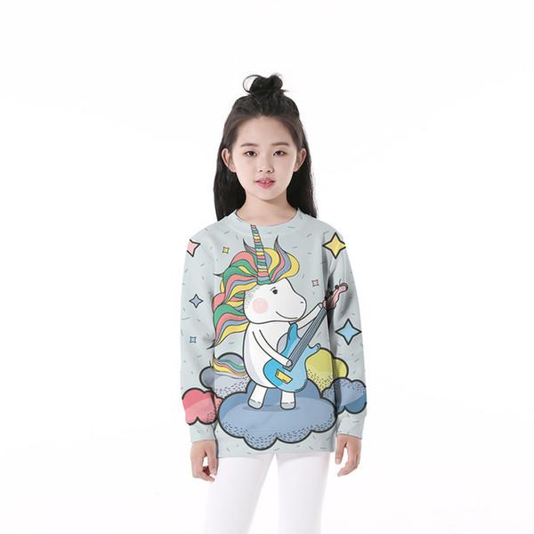 Child Sweatshirt Guitar Unicorn 3D Graphic Full Printed Casual Boy Girl Pullover Hoodies Kids Long Sleeves Unisex Sweatshirts (RLCwy-56072)