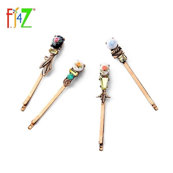 2017 Vintage Fashion Chinese Styled Printing Faux Stone 4Pieces/set Hair Pins Jewelry for Women pinzas de pelo C19010501