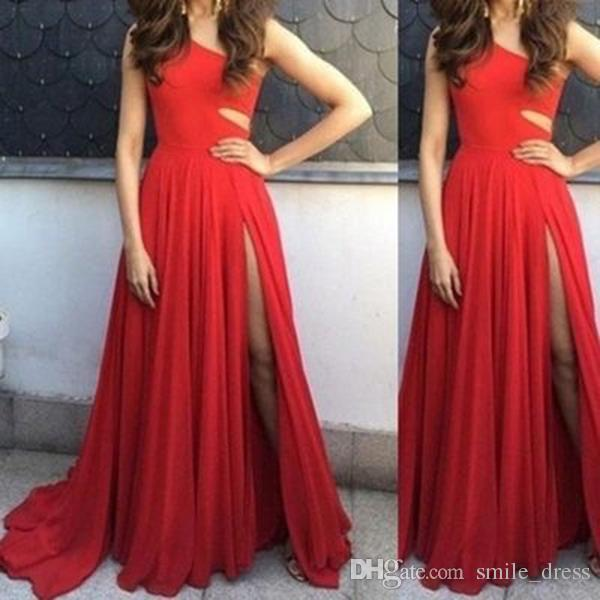 2019 Cheap Long A Line Chiffon Pleated Modest Prom Dress One Shoulder High Split Red Evening Gowns Formal Dresses SP328